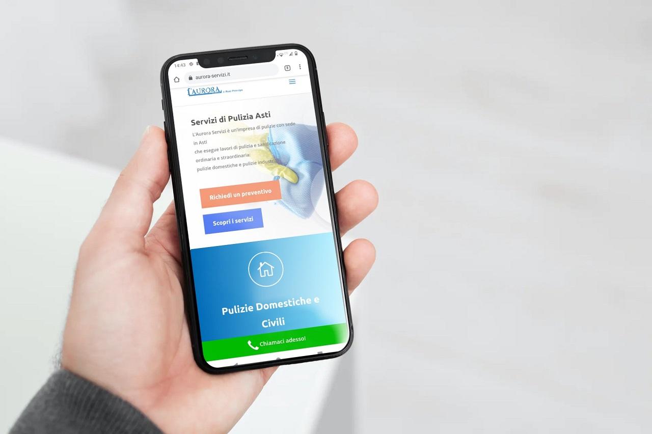 mobile mano sito aurora servizi